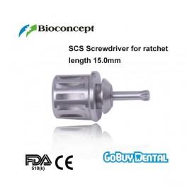 SCS Screwdriver for ratchet, extra short, length 15.0mm
