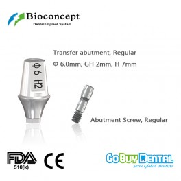 Bioconcept Hexagon RC transfer abutment φ6.0mm, gingival height 2mm, height 7mm