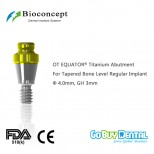 OT EQUATOR® Titanium Abutment for Tapered Bone Level RC Implant, φ4.0mm, GH 3mm