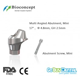 Bioconcept Hexagon Mini Multi-angled abutment φ4.8mm, gingival height 2.5mm, Angled 17°(337130)