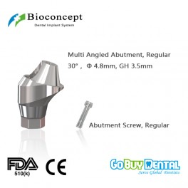 Bioconcept Hexagon Regular Multi-angled abutment φ4.8mm, Angled 30°, gingival height 3.5mm(337220)
