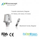 Bioconcept Hexagon RC transfer abutment φ7.0mm, gingival height 1mm, height 5.5mm