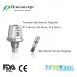 Bioconcept Hexagon RC transfer abutment φ7.0mm, gingival height 4mm, height 5.5mm