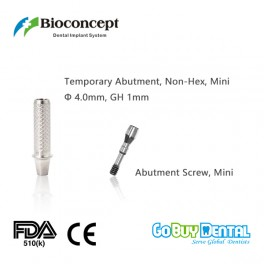 Bioconcept Non-Hex mini temporary abutment φ4.0mm, gingival height 1mm, height 10mm