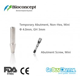 Bioconcept Non-Hex mini temporary abutment φ4.0mm, gingival height 3mm, height 10mm