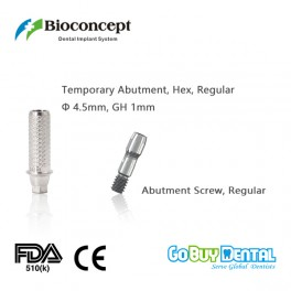 Bioconcept Hex regualr temporary abutment φ4.5mm, gingival height 1mm, height 10mm