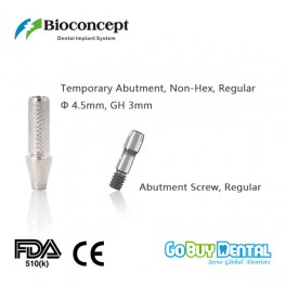 Bioconcept Non-Hex regular temporary abutment φ4.5mm, gingival height 3mm, height 10mm