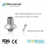 Bioconcept digital Ti-Base for Straumann Tissue Level WN with screw, for crown, D7.0mm, H4.5mm