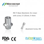 Bioconcept digital Ti-Base for Straumann Tissue Level RN with screw, for crown, D5.05mm, H4mm