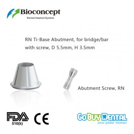 Bioconcept digital Ti-Base for Straumann Tissue Level RN with screw, for bridge/bar, D5.5mm, H3.5mm