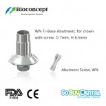 Bioconcept digital Ti-Base for Straumann Tissue Level WN with screw, for crown, D7.0mm, H6.5mm
