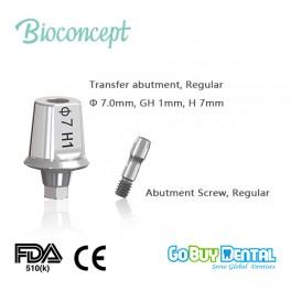 Bioconcept Hexagon Regular Transfer Abutment φ7.0mm, gingival height 1mm, height 7mm(331460)